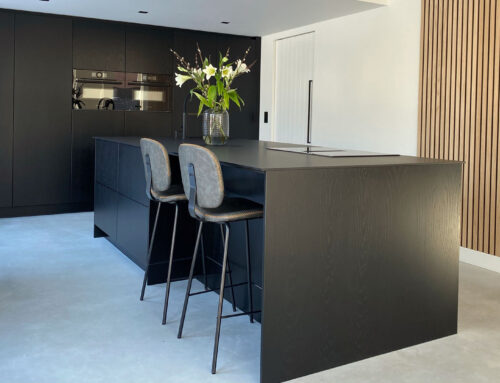Moderne zwarte greeploze keuken